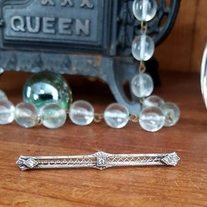 Circa 1910-1920's, Sterling Silver Paste Bar Pin